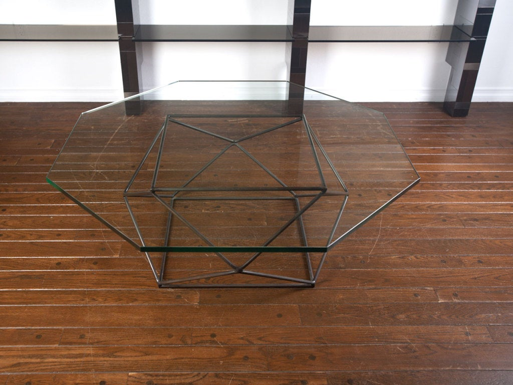 Rare bronze & glass geometric table by MILO BAUGHMAN image 9