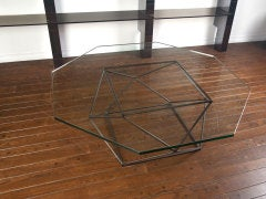 Rare bronze & glass geometric table by MILO BAUGHMAN thumbnail 10