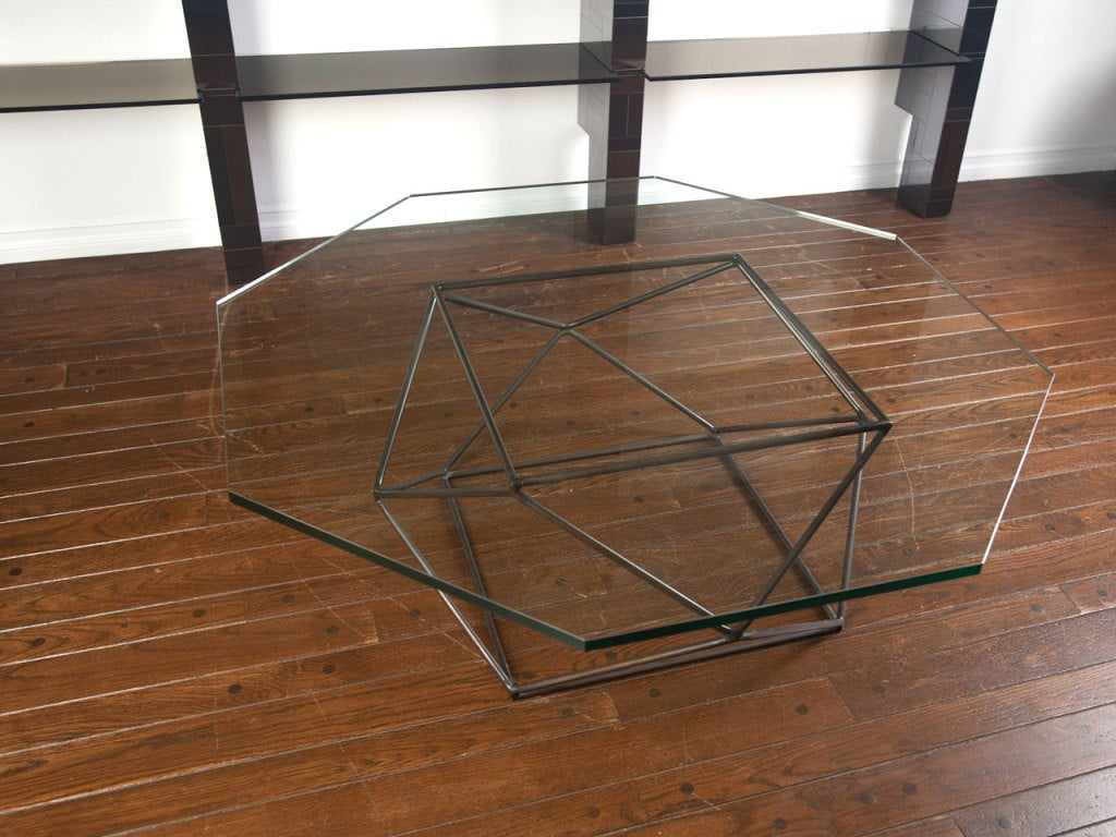 Rare bronze & glass geometric table by MILO BAUGHMAN image 10