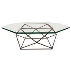 Rare bronze & glass geometric table by MILO BAUGHMAN thumbnail 1