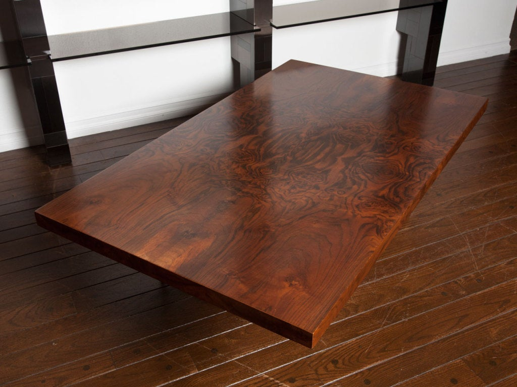 Black walnut burl and bronze coffee table by Milo Baughman 10