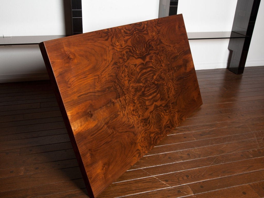 Black walnut burl and bronze coffee table by Milo Baughman 2