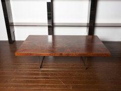 Black walnut burl and bronze coffee table by Milo Baughman image 3