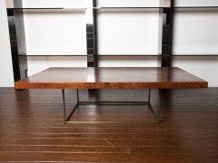 Black walnut burl and bronze coffee table by Milo Baughman image 4
