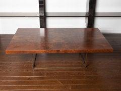 Black walnut burl and bronze coffee table by Milo Baughman image 5