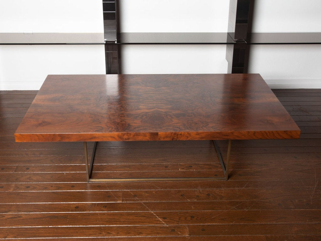 Black walnut burl and bronze coffee table by Milo Baughman 5