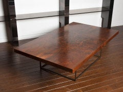 Black walnut burl and bronze coffee table by Milo Baughman image 6