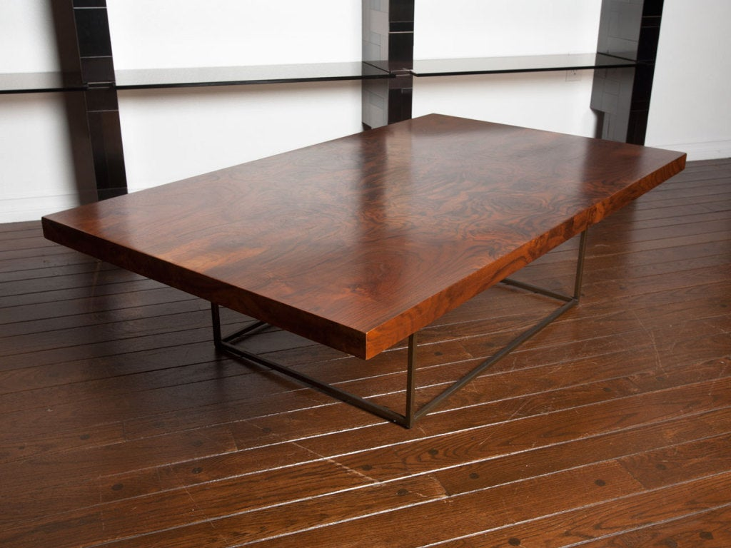 Black walnut burl and bronze coffee table by Milo Baughman 7