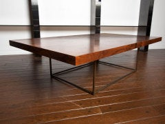 Black walnut burl and bronze coffee table by Milo Baughman image 8