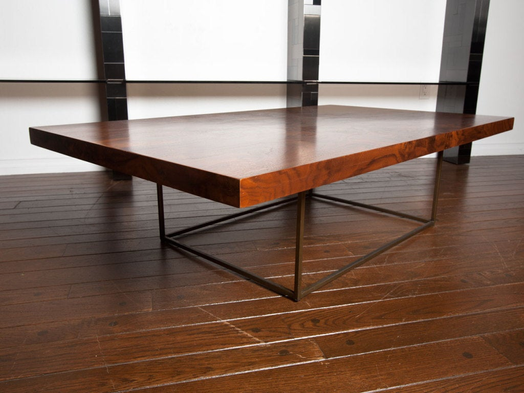 Black walnut burl and bronze coffee table by Milo Baughman 8