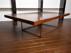 Black walnut burl and bronze coffee table by Milo Baughman image 9