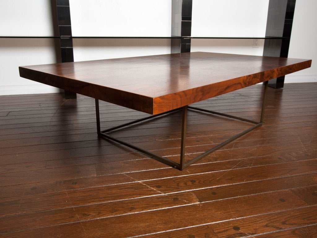Black walnut burl and bronze coffee table by Milo Baughman 9