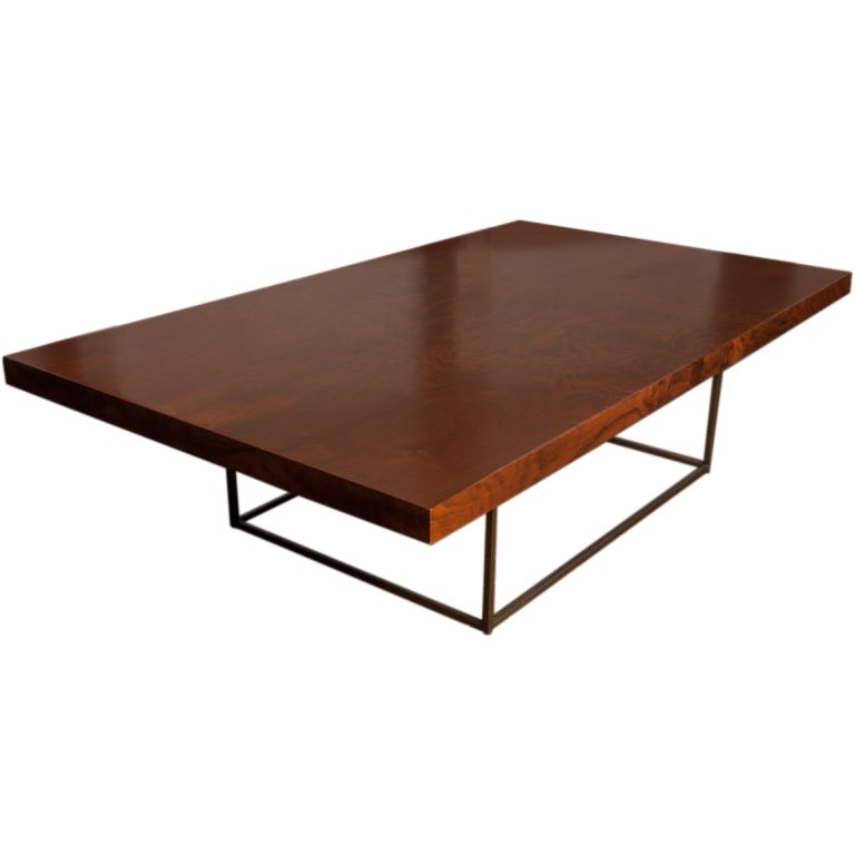 Black walnut burl and bronze coffee table by Milo Baughman 1