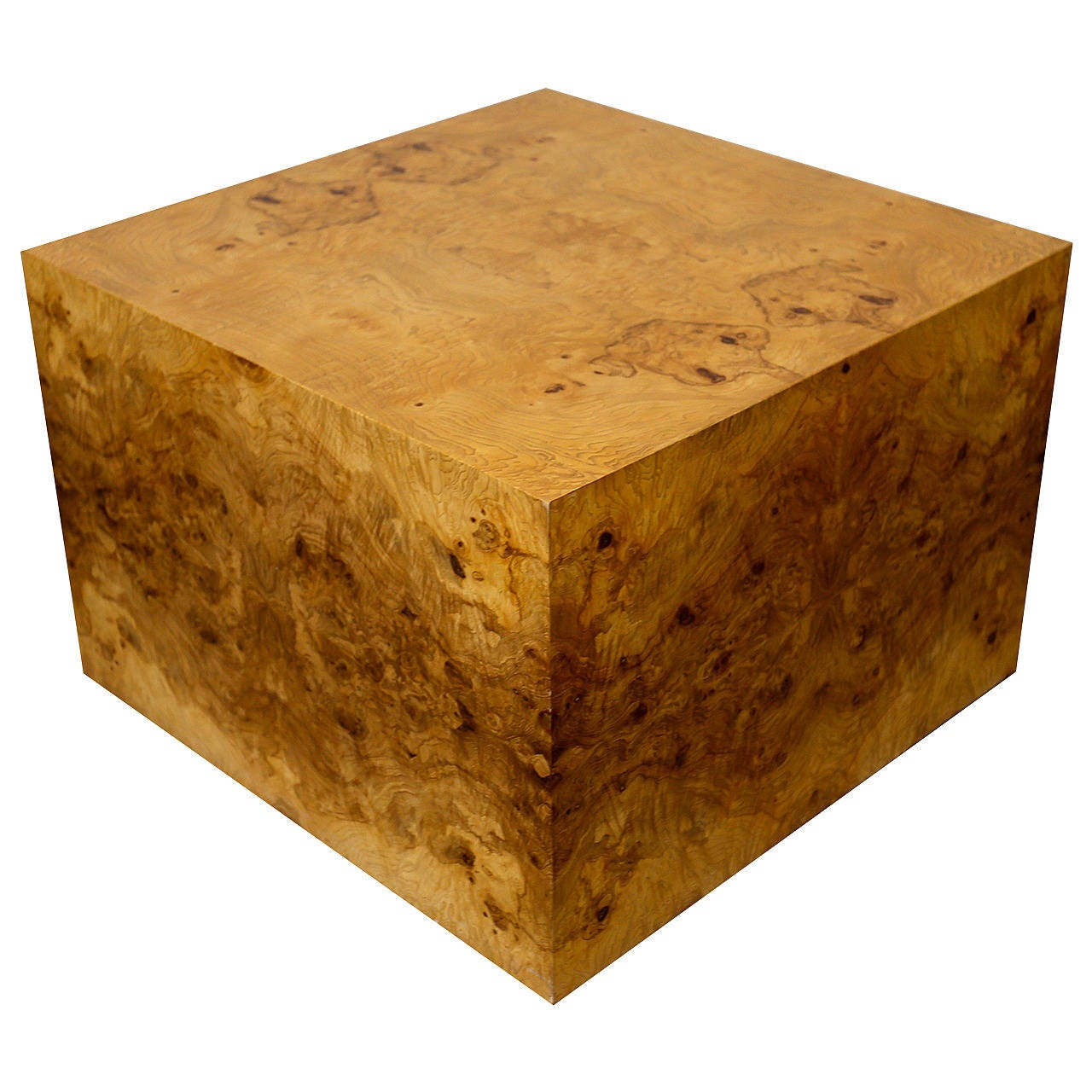 Large Burl Wood Cube By Milo Baughman At 1stdibs