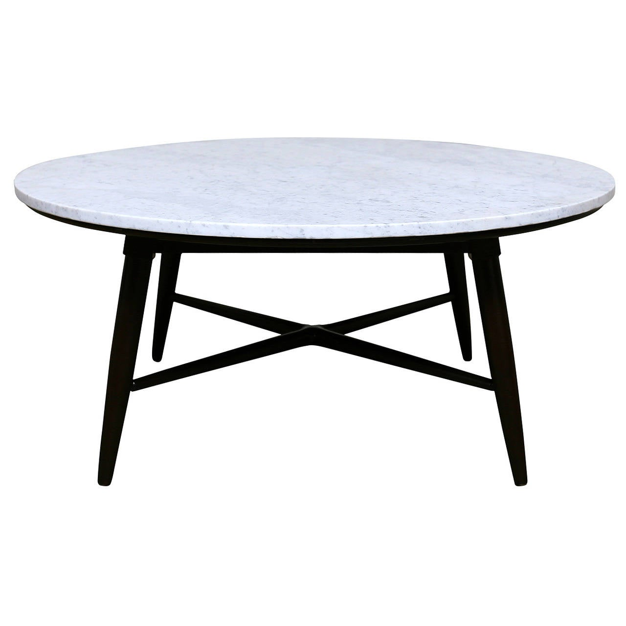 Round marble x base coffee table at 1stdibs Round marble coffee tables