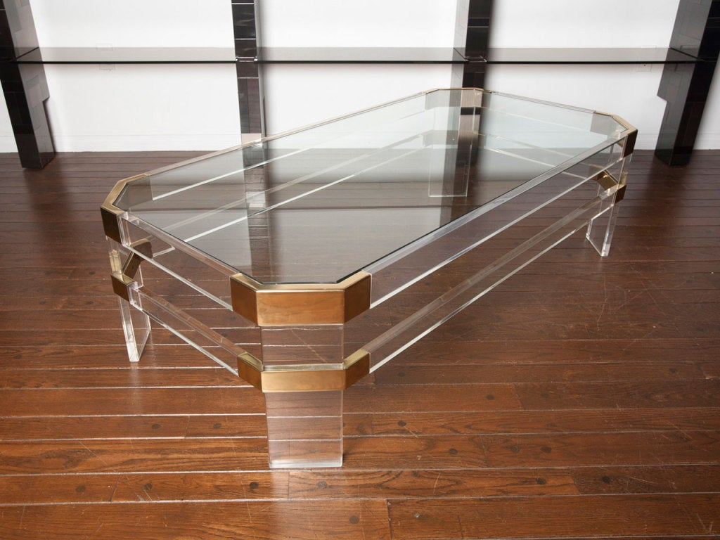 Lucite Coffee Table Ikea Octagonal x3cbx3elucitex3c/bx3e and glass ...