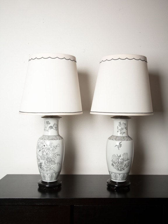 Pair Of Black On White Chinoiserie Lamps By MARBRO.