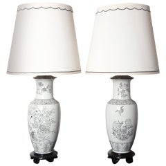 Pair of Black on White Chinoiserie Lamps by Marbro