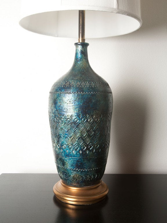 Pair Of Large Italian Ceramic Lamps By Marbro At 1stdibs