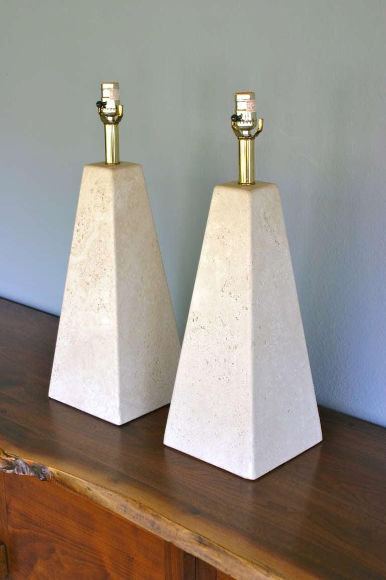 Pair Of Pyramid Shaped Travertine Lamps At 1stdibs