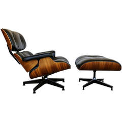 Charles Eames Walnut Lounge Chair and Ottoman