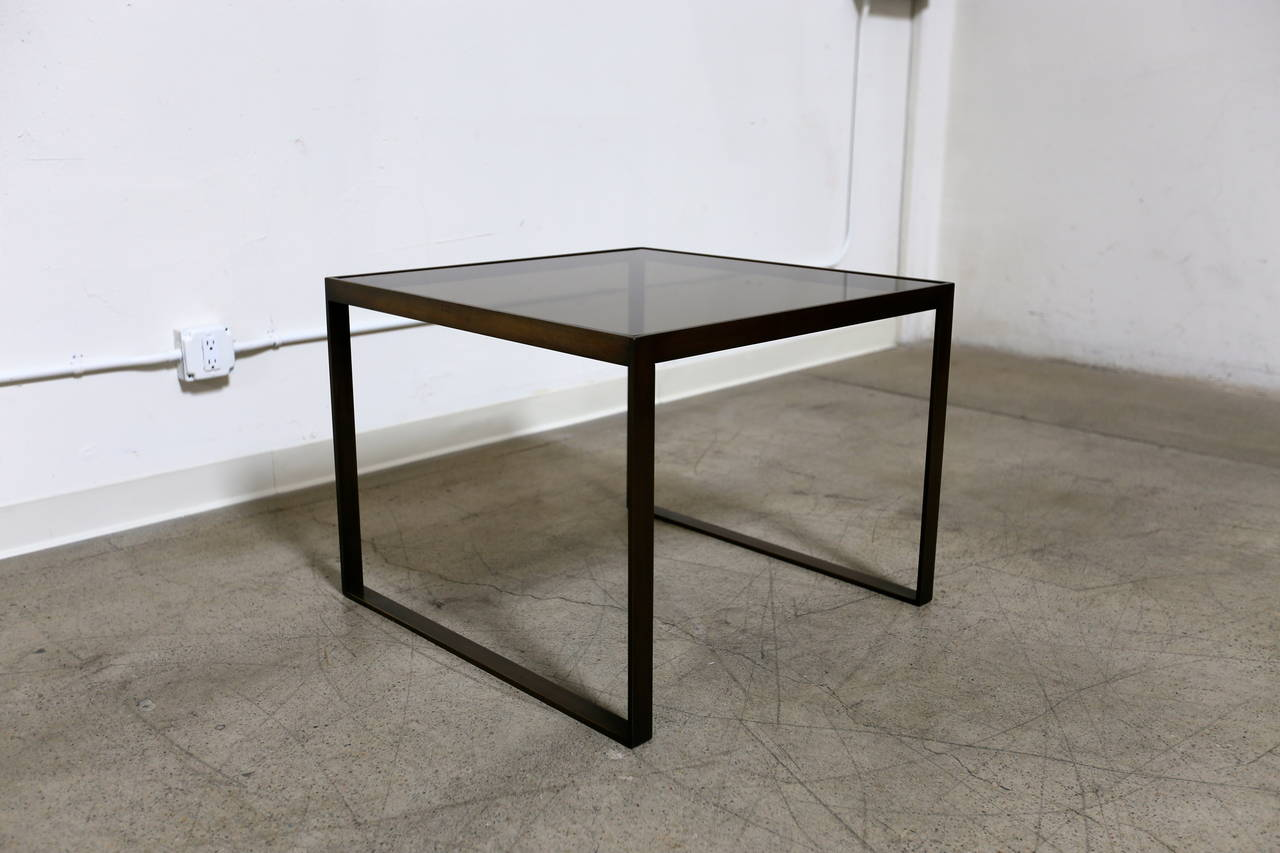 Bronze And Smoked Glass Side Table By Edward Wormley For