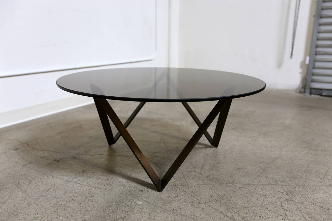Bronze And Smoked Glass Coffee Table By Roger Sprunger For Dunbar For Sale At 1stdibs