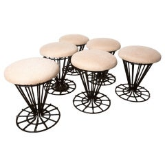 Four Iron Swivel Stools By Frederic Weinberg