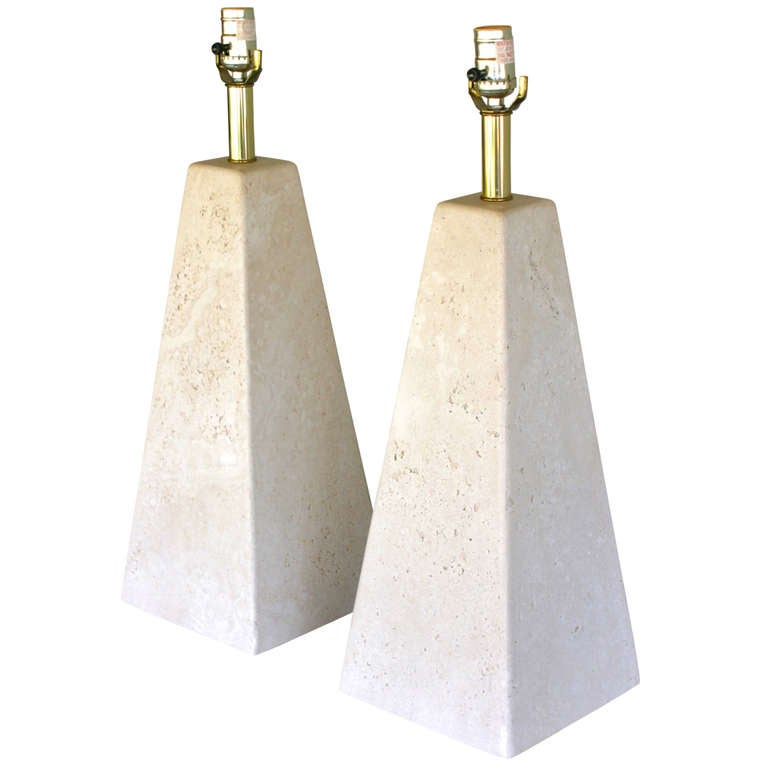 Pair Of Pyramid Shaped Travertine Lamps At 1stdibs