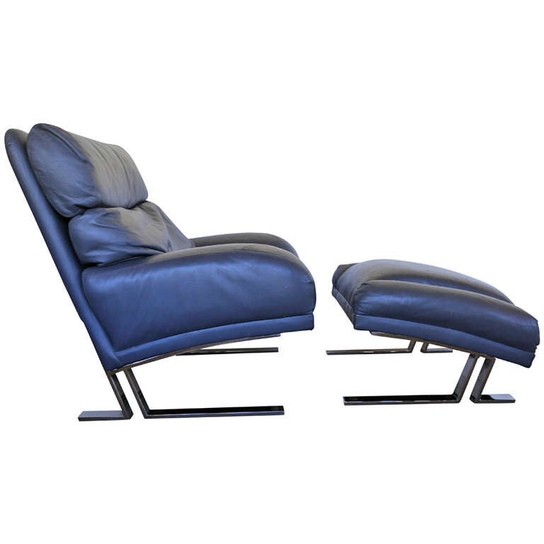 Leather and Chrome Lounge Chair and Ottoman by Milo Baughman at 1stdibs