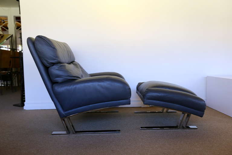 Leather And Chrome Lounge Chair And Ottoman By Milo