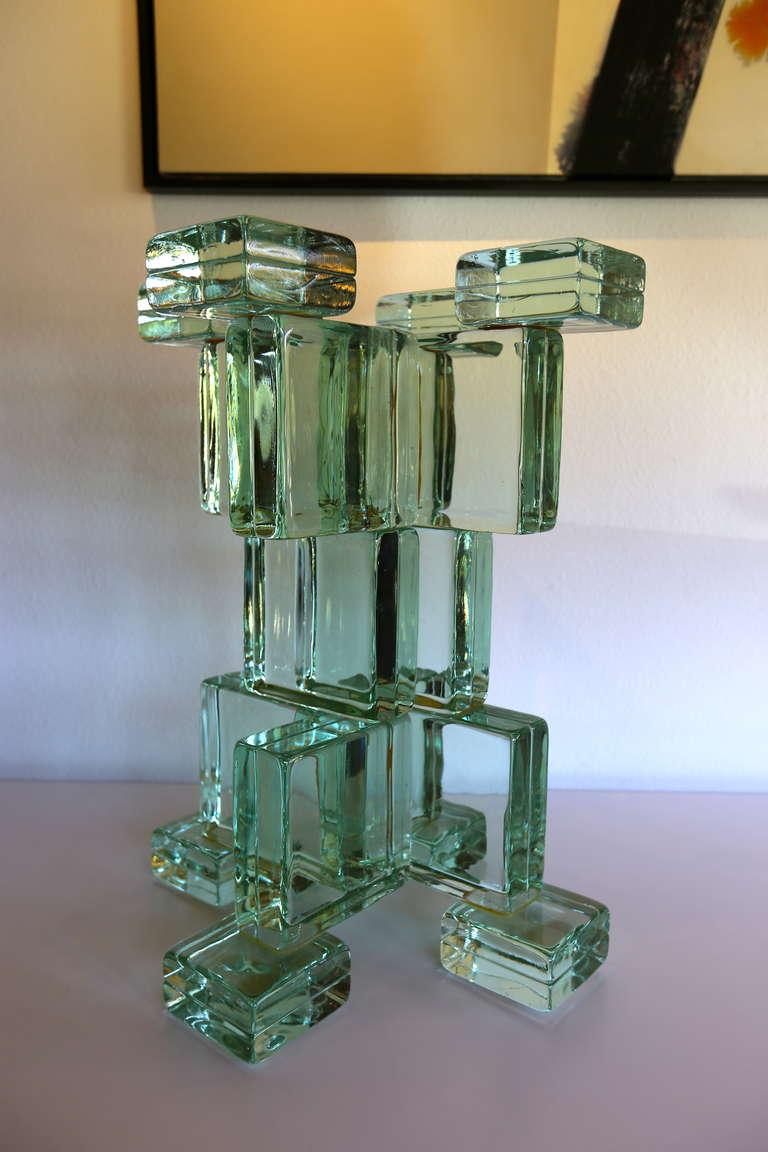 Italian Sculptural Glass Block Table Or Pedestal Base At 1stdibs