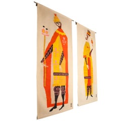 """Pair Of """"King & Queen"""" Tapestries By Evelyn Ackerman For Era"""