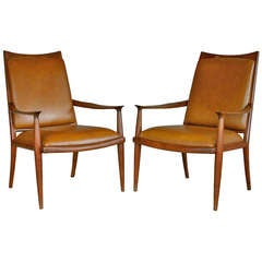 Pair of Handcrafted High Back Lounge Chairs by John Nyquist
