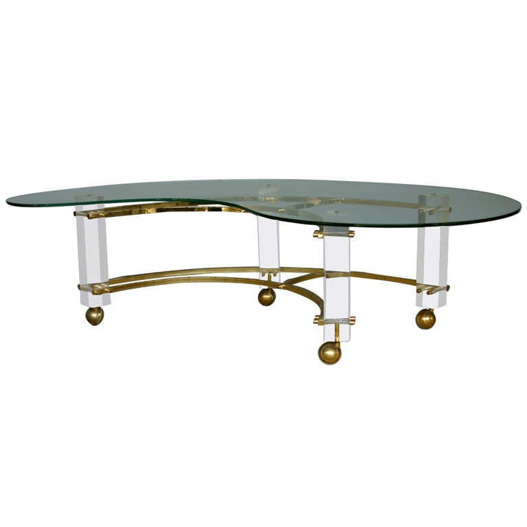 Lucite And Glass Kidney Shaped Table By Charles Hollis Jones At 1stdibs