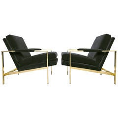 Pair of Mirror Polished Brass Lounge Chairs by Milo Baughman