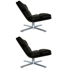 """Pair of Leather """"Solo"""" Chairs by John Follis for Fortress"""