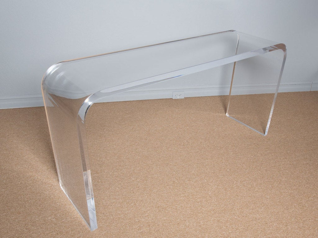 70 39 s lucite waterfall console table at 1stdibs for Sofa table 70