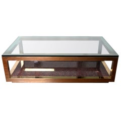 Solid Brass, Glass And Granite Parsons Style Coffee Table