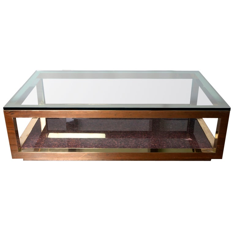 Solid Brass Glass And Granite Parsons Style Coffee Table At 1stdibs