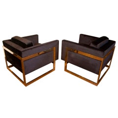 "Pair of Brass ""Cube"" Chairs by Milo Baughman"