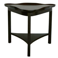 Ebonized Triangle Side Table By Johnson Furniture Co.