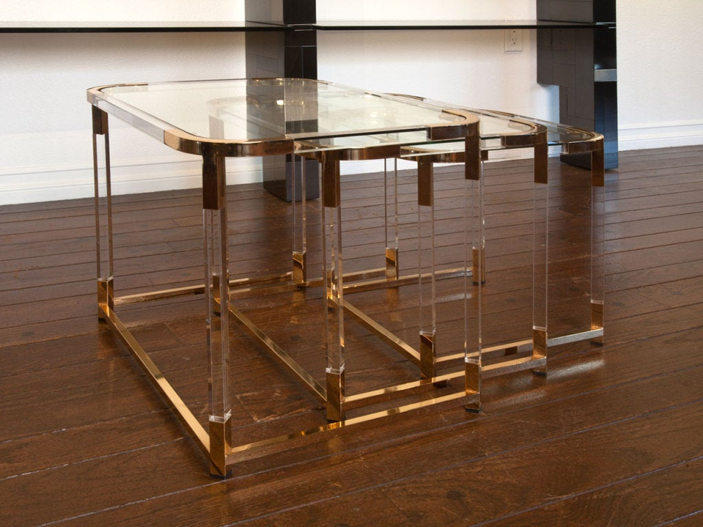 Set of lucite and brass nesting tables by charles hollis