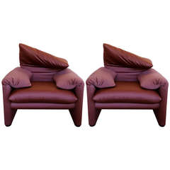 Pair of Vico Magistretti Lounge Chairs for Cassina
