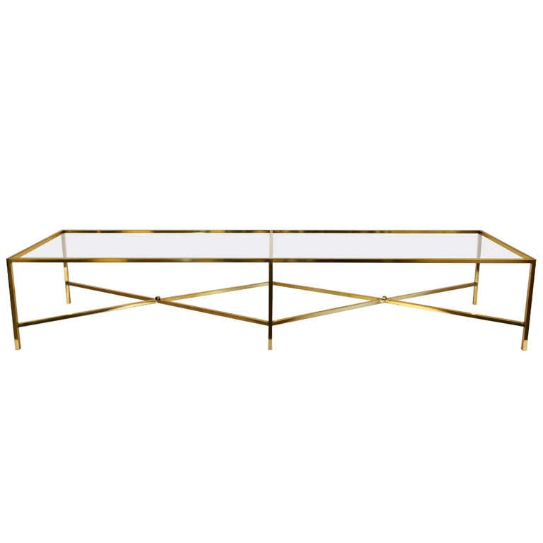 Polished Solid Brass X Base Coffee Table At 1stdibs