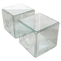 Pair of Glass Cube Tables by Gerald McCabe