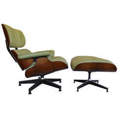 Pistachio Green Leather and Rosewood Lounge Chair by Charles Eames