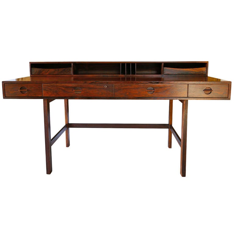 Rosewood flip top desk by peter lovig nielsen at 1stdibs for Flip top computer desk