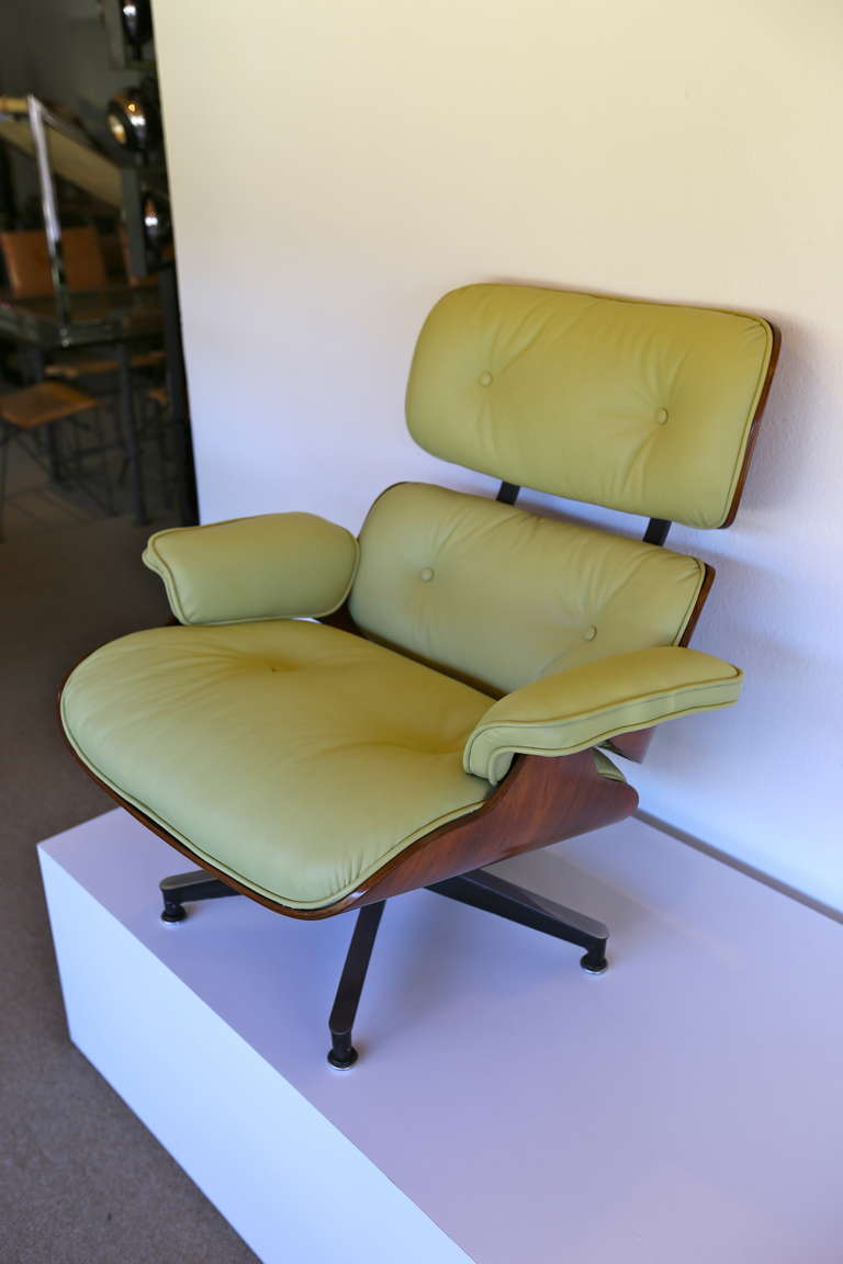 Pistachio Green Leather And Rosewood Lounge Chair By