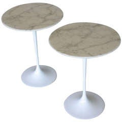 "Pair marble ""Tulip"" side tables by Eero Saarinen for Knoll"